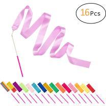 "PAMASE 16 Packs Kids Dancing Gymnastics Ribbon Wands, 6'6"" Rhythmic Artistic Twirling Ribbons with Non-Slip Handle"