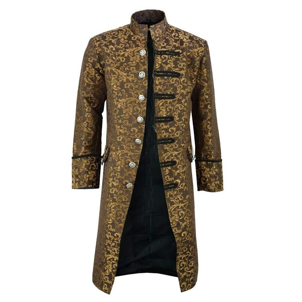 Men's Steampunk Vintage Tailcoat Jacket Gothic Victorian Frock Black Steampunk Buttons Coat Uniform Costume