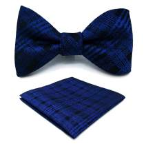 S&W SHLAX&WING Fashion Bow Tie Set with Pocket Square for Men Silk