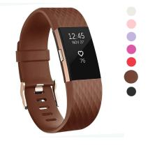 Wearlizer Compatible with Fitbit Charge 2 Bands Accessories Silicone Strap Replacement Charge 2 Special Edition Lavender Rose Gold Buckle (Brown.)