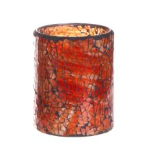 GiveU Flameless Pillar Timer Red Mosaic Glass Battery Operated Led Candle for Home Decoration, 3x4 inches