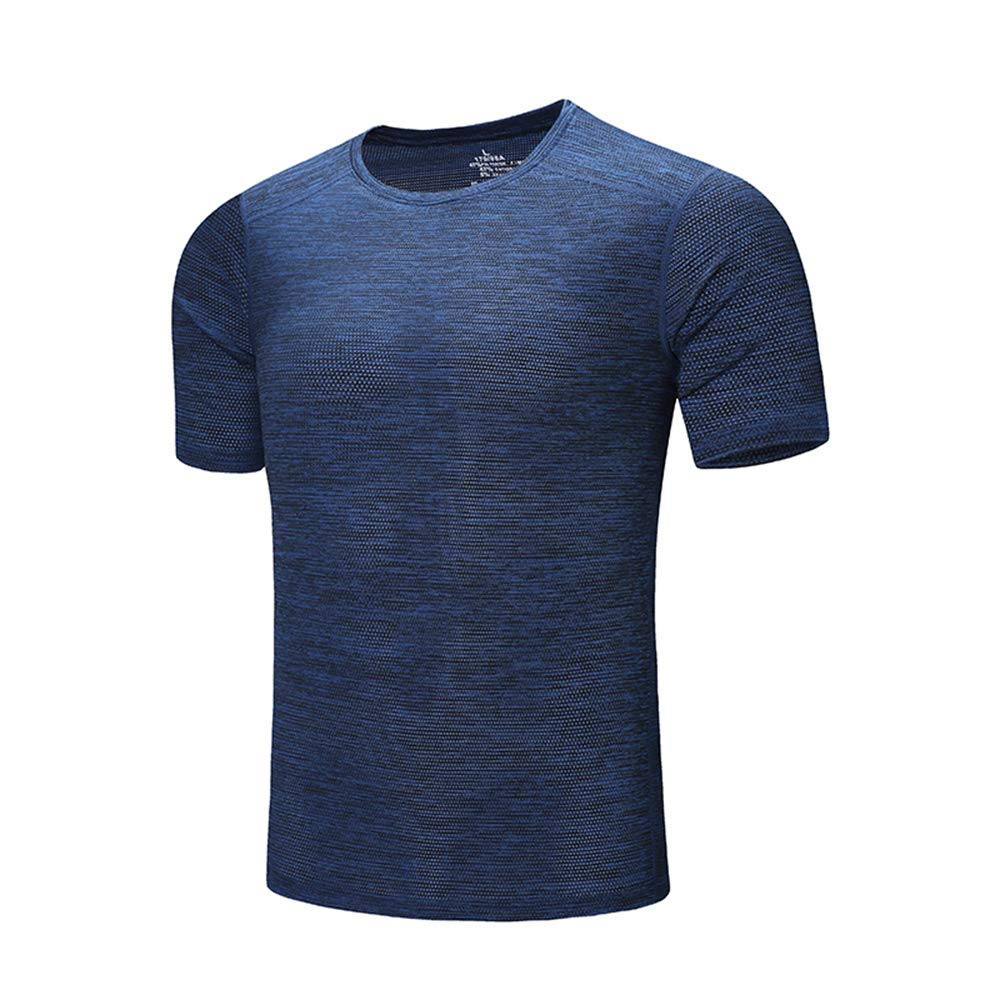 DZRZVD Men's Short Sleeve T Shirt Casual Active Running Sport Fast Cool Dry Athletic Shirt Blue