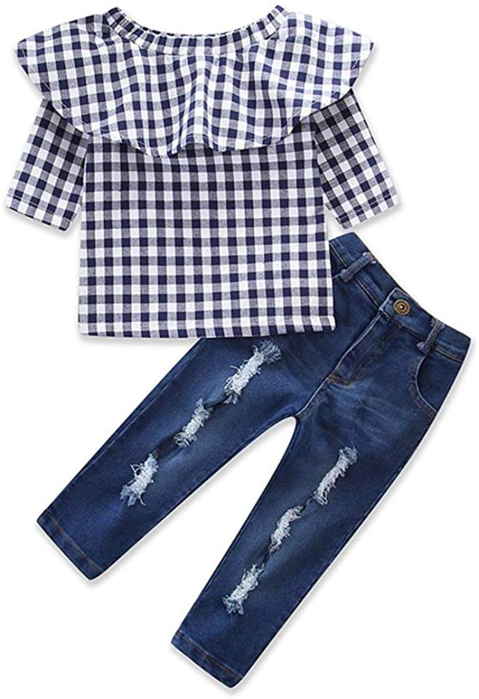 Little Girls Off Shoulder Ruffle Plaid Tops Distressed Jeans Shirts Clothes Set