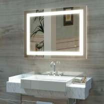 HAUSCHEN 32 x 40 inch LED Lighted Bathroom Wall Mounted Mirror with 3000K High Lumen + CRI>90 Warm White Lights and Anti Fog and Dimmable Memory Touch Button + IP44 Waterproof + Vertical & Horizontal