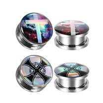 TBOSEN Set Of 4 Pcs Surgical Steel Plug and Tunnels For Ears Templar's Cross Silver Screw Large Ear Gauges 2g - 1-3/16 inch