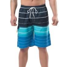 YnimioAOX Men's Swim Trunks, Quick Dry Board Shorts, Colorful Stripe Swimming Shorts
