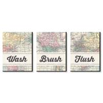 Big Dot of Happiness World Awaits - Travel Themed Kids Bathroom Rules Wall Art - 7.5 x 10 inches - Set of 3 Signs - Wash, Brush, Flush