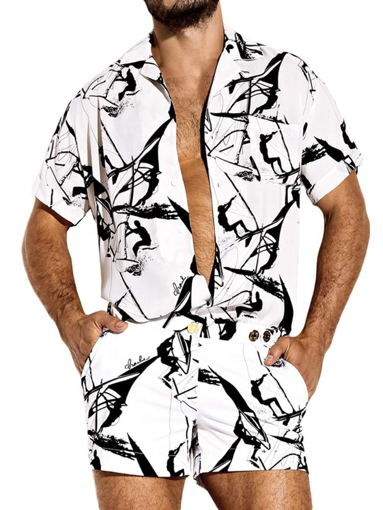 Runcati Mens Romper Jumpsuit Printed Button Up Tropical One Piece Short Sleeve Summer Beach Short Overalls