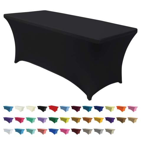 20Pcs 6ft Rectangular Stretch Tablecloth Cover Fitted Close Stitches Elastic