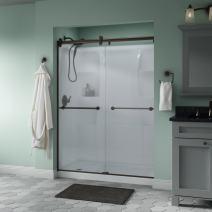 Delta Shower Doors SD3172676 Trinsic Semi-Frameless Contemporary Sliding Door 60in.x71in, Bronze Track