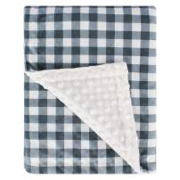 Halsy Super Soft Minky Baby Blanket, with Double Layer Dotted Backing, Plush Receiving Blanket for Boys, Girls, Newborns, Toddlers, Nursery, Bedding (Plaid Blue/Grey, 30 x 40 Inch)
