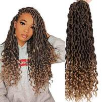 AISI BEAUTY Faux Locs Crochet Hair Ombre Fauxs Locs Braiding Hair Wave Crochet Braiding Hair with Curly Ends Black Mixed Light Brown Heat Resistant Synthetic Hair Extension 20 Inch 6Pcs/Lot (T1B-27#)