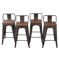 "26"" Low Back Metal Counter Stool Height Bar Stools with Wooden Seat [Set of 4] for Home Kitchen Barstools"