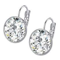 Crystal Leverback Earrings from Swarovski 14K White Gold Plated Hypoallergenic Jewelry for Women Girls