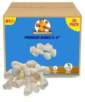 Brazilian Pet Rawhide Bones 5-6 Inches, Premium Quality Dog Bones, 100% Natural, Beef Hides Chews (50 Pack)
