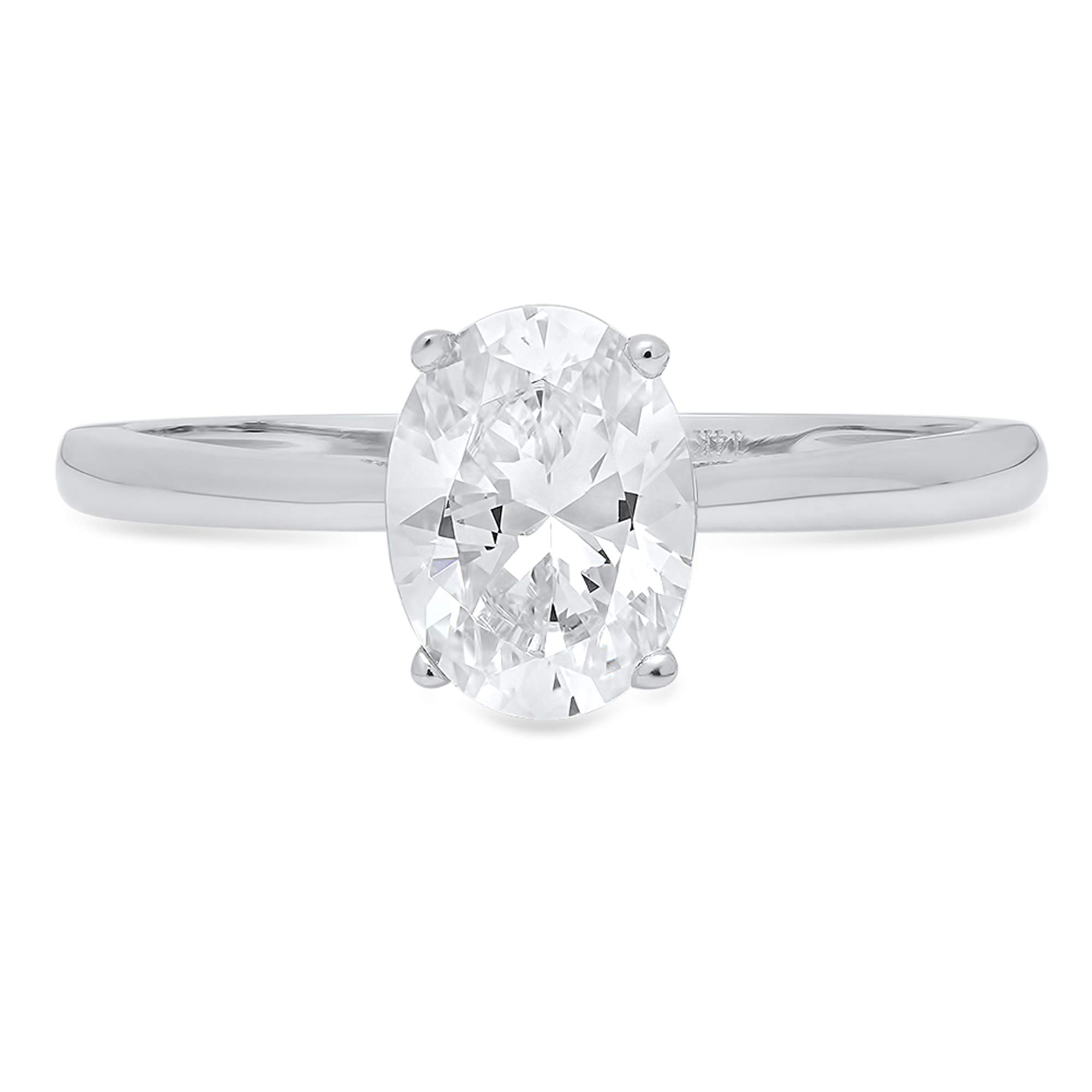 1.0 ct Brilliant Oval Cut Solitaire Highest Quality Lab Created White Sapphire Ideal VVS1 D 4-Prong Engagement Wedding Bridal Promise Anniversary Ring Solid Real 14k White Gold for Women