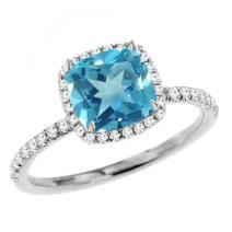 Dazzlingrock Collection 14K Ladies Bridal Halo Engagement Ring, White Gold