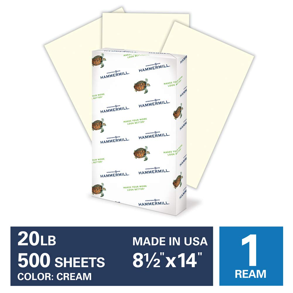 Hammermill Cream Colored 20lb Copy Paper, 8.5x14, Legal Size, 1 Ream, 500 Total Sheets, Made in USA, Sustainably Sourced From American Family Tree Farms, Acid Free, Pastel Printer Paper, 168040R