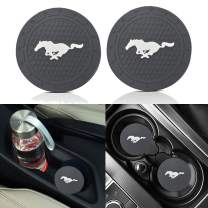 2PCS 2.8 Inch Mustang Logo Silicone Cup Holder Coaster,Tough Auto Cup Holder Mat Anti Slip Coaster Durable Car Interior Accessories for Ford Mustang.(Mustang Coaster)