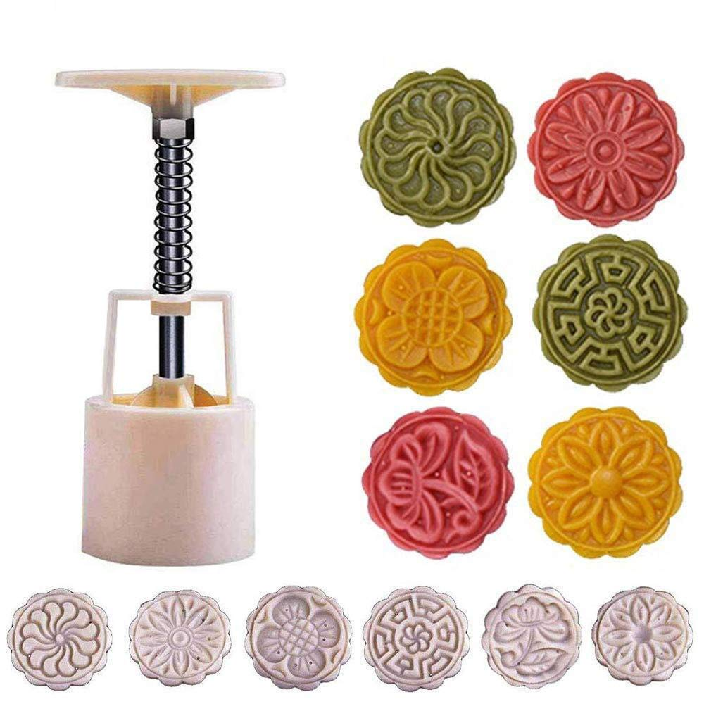 Powerful Mooncake Mold Circle/Flower/Square Mid-autumn Festival Hand Press 50g/75g/100g Moon Cake Cutter Molds Set (50g)