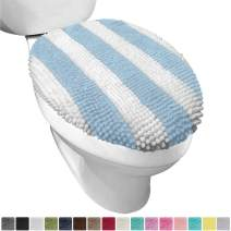 Gorilla Grip Original Shag Chenille Bathroom Toilet Lid Cover, 19.5 x 18.5 Inches Large Size, Machine Washable, Ultra Soft Plush Fabric Covers, Fits Most Size Toilet Lids for Bathroom, Sky Blue White