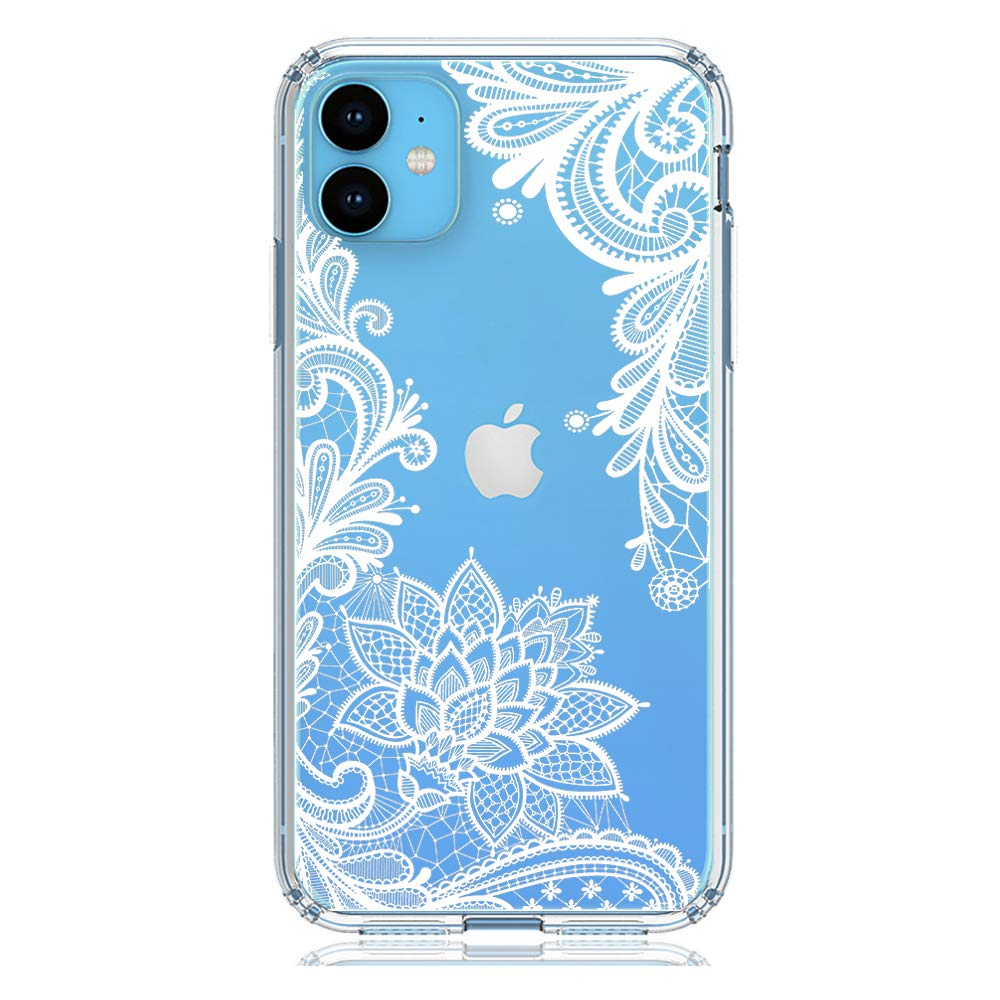 """HUIYCUU Compatible with iPhone 11 Case 6.1"""", Shockproof Cute Slim Fit Anti-Slip Clear Design Flower Pattern Soft Bumper + Hard Back Cover Girl Women Case for iPhone 11 XI, White Lace"""