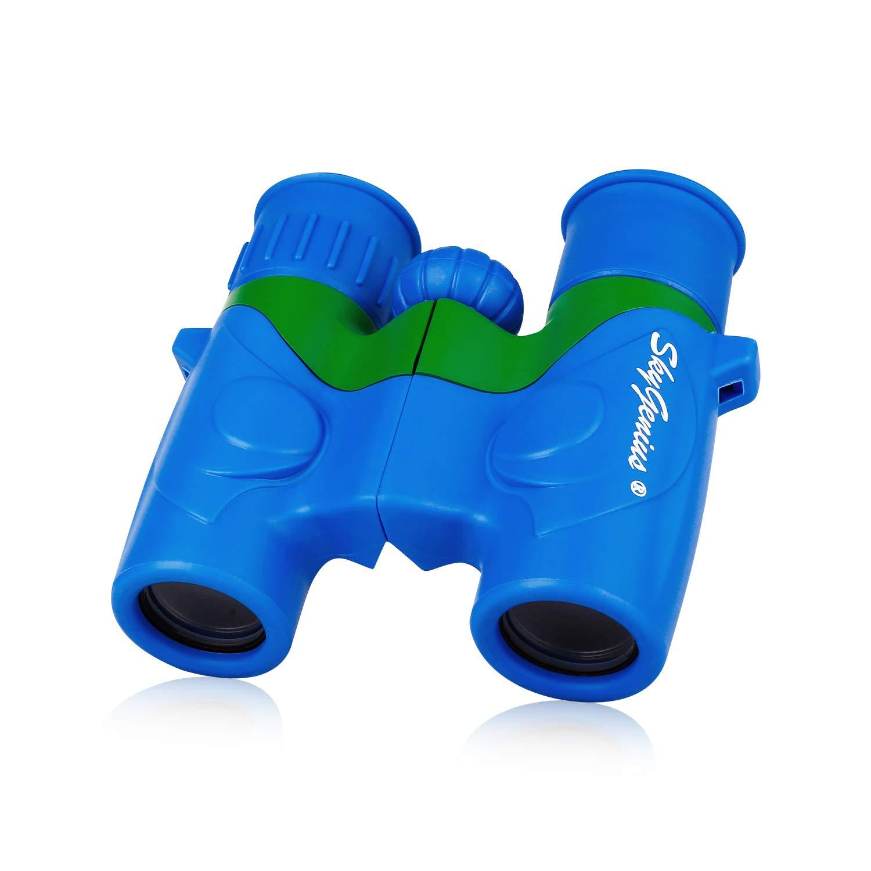 SkyGenius Binoculars for Kids, Mini Binoculars for Children, Real Optics High Resolution Kids Binoculars Boys, Small Compact Binocular for Bird Watching Outdoor Sports Event - Blue