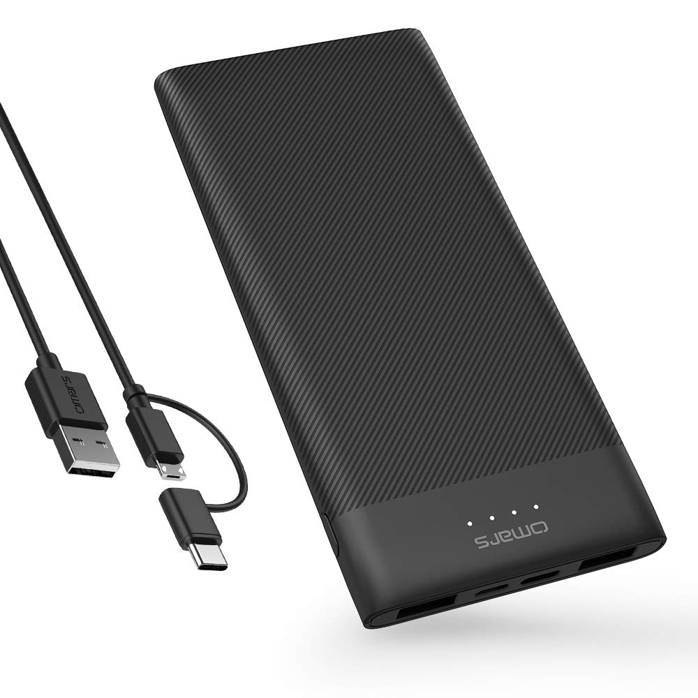 Omars Power Bank 10000mAh USB C Battery Pack Slimline Portable Charger with Dual USB Output Compatible with iPhone Xs/XR/XS Max/X, iPad, Galaxy S9 / Note 9