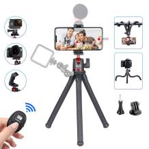 3 in 1 Flexible Phone Tripod,Tripod for Gopro,Portable Adjustable Camera Tripod Stand with Bluetooth Remote and Hidden Universal Phone Holder with Cold Shoe,Compatible with iPhone/Android/GoPro Camera