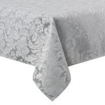 ColorBird Scroll Damask Jacquard Tablecloth Polyester Fabric Water Resistant Spillproof Table Cover for Kitchen Wedding Banquet Party Tabletop Use (Rectangle/Oblong, 60 x 120 Inch, Silver Gray)