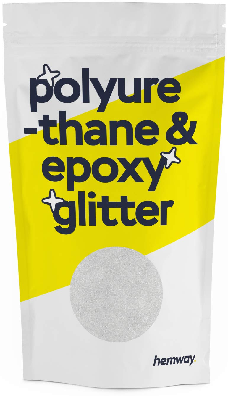 Hemway Metallic Glitter Floor Crystals for Epoxy Resin Flooring (500g) Domestic, Commercial, Industrial - Garage, Basement - Can be Used with Internal & External (White)