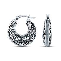 Charmsy Sterling Silver Jewelry Filigree Cut Click Top Hoop Earring for Teen And Women