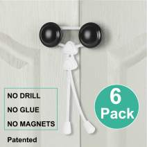 Baby Child Safety Cabinet Locks for Knobs (6 Packs) Adjustable Portable Cabinets Latches for Home Safety Strap Proofing for Drawer Kitchen Bathroom Doors RV No Drill No Screw Adhesive (White)