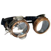 Steampunk Goggles Rave Glasses with Compass Design, Handcrafted Victorian Style, Double Ocular Loupe