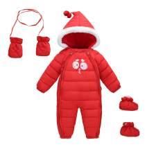 Happy Cherry Baby Hooded Snowsuit Fleece Romper with Feet Gloves Zipper Padding Onesie