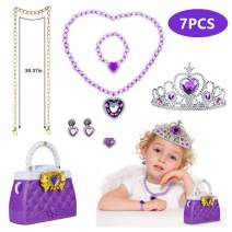 BAOQISHAN 7PCS Princess Elsa Dress Up Accessories Backpack Bag Crown Necklace Bracelet Earrings Ring Up Party Birthday Party Little Girls Dress up and Role Play (Purple)