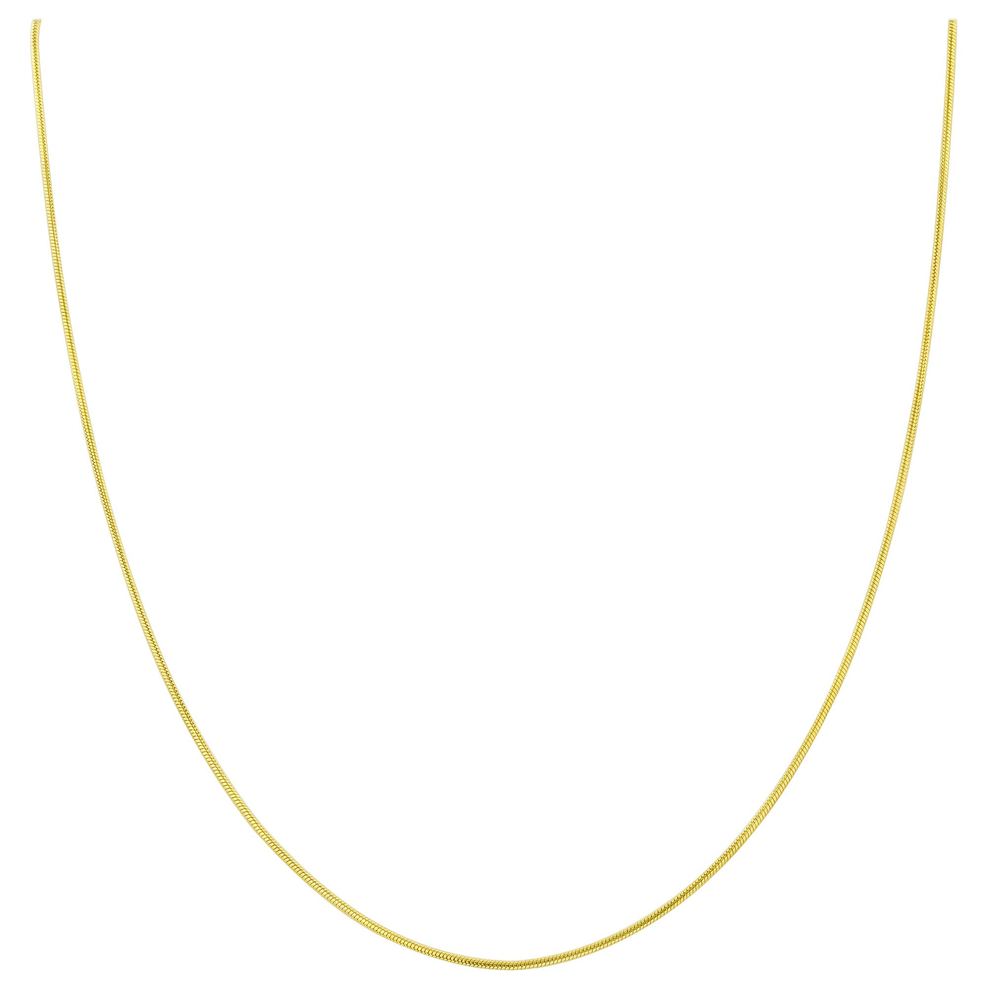 14k Gold over Italian Sterling Silver Vermeil 1mm Snake Chain Diamond-Cut Necklace