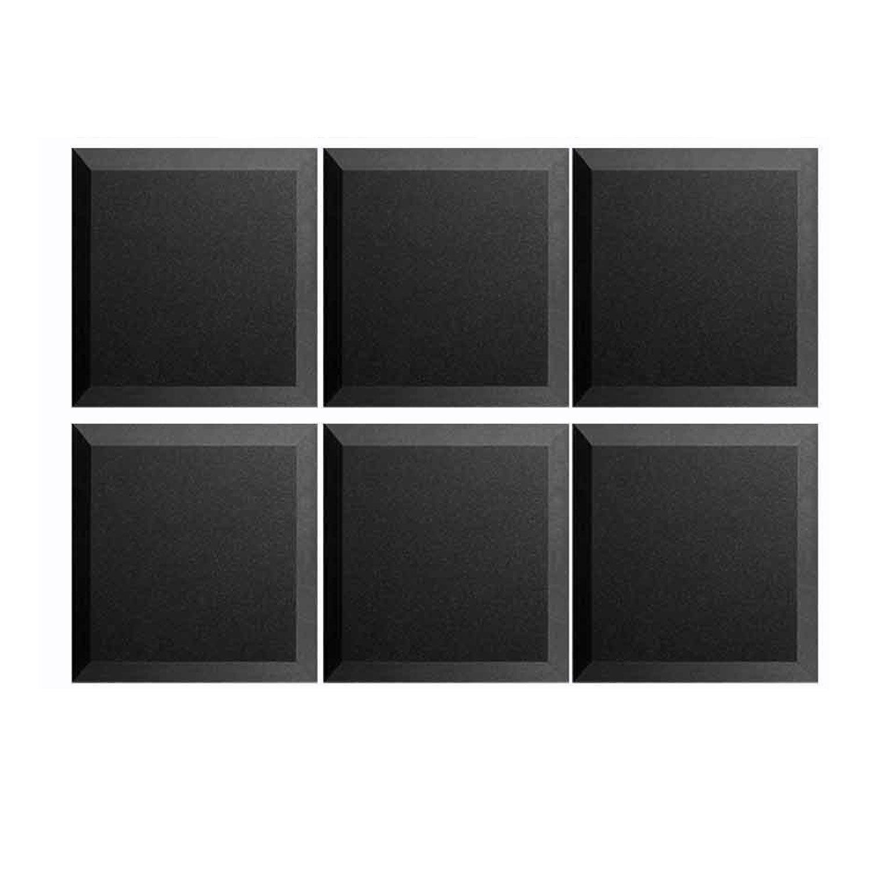 """Mybecca 6 Pack Acoustic Panels Studio Foam Bevel 2"""" X 12"""" X 12"""" - Color: Charcoal"""