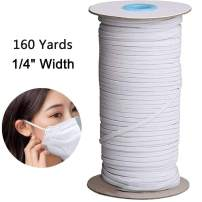 160 Yards Length White 1/8 Inch 1/4 Inch Width Elastic Band Briaded Knit Elastic String Cord Heavy Stretch Elastic Band for Sewing Craft, DIY, Mask (1/4 Inch, White Elastic Band)