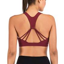 LYZ Sports Bra for Women Sexy Crisscross Back Strappy Sports Bras Medium Support Yoga Bra with Removable Cups
