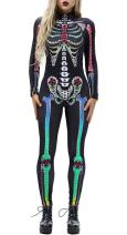 GLUDEAR Adult 1pc Skull Skeleton Print Catsuit Bodysuit Halloween Costumes Cosplay