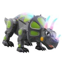 YARMOSHI Walking Triceratops Dinosaur Robot Toy - Battery Operated. Colorful Glowing Lights. Moving Limbs, Music Playing. Jurassic Fun Gift for Boys and Girls, 5.5x5.8x14.1 Inches, Age 3+(Green)