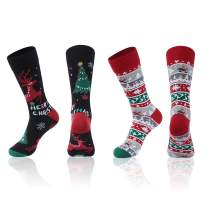 Christmas Family Socks,JIBIL Unisex Funky Colorful Fancy Design Cartoon Holiday Festive Mid-Calf/Crew Socks,2 Pairs