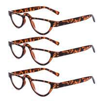 AMILLET 3 Pack Full Frame Small Cat Eye Reading Glasses for Women Men Half Moon Readers Red Tortoise +2.50
