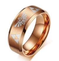 XOFOAO 8MM Women's Men's Stainless Steel The Legend of Zelda Triforce Ring,4 Color,The Carving All Around