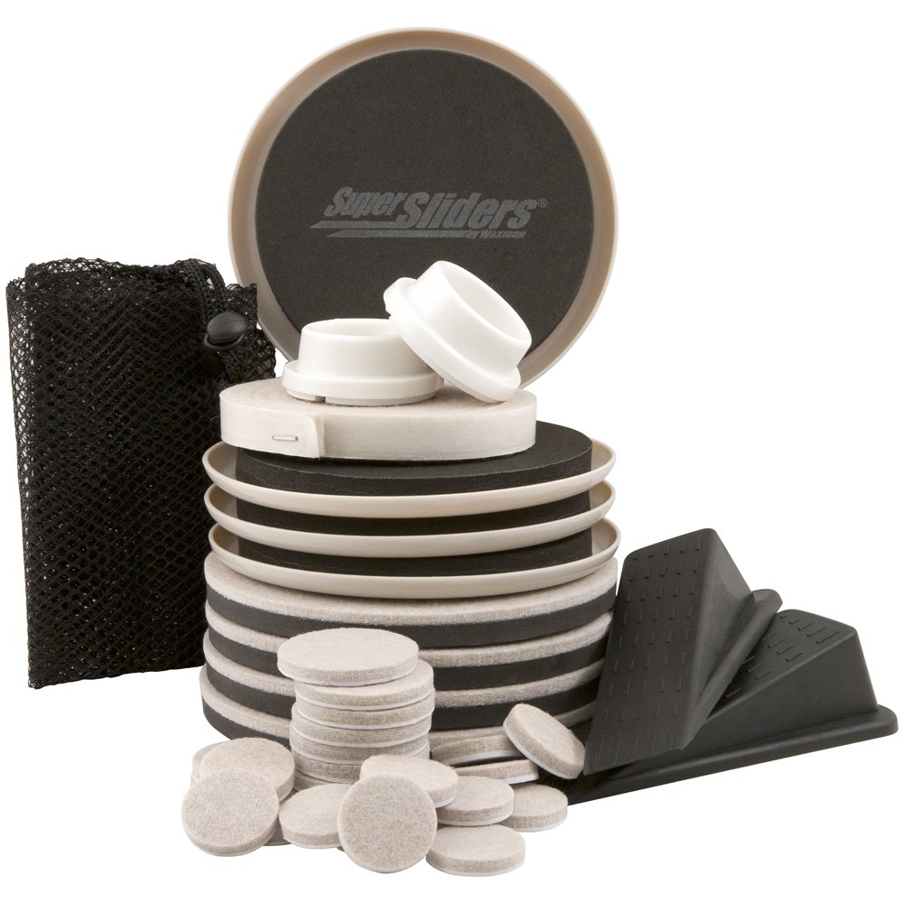 SuperSliders 37 Piece Value Pack, Reusable Furniture Moving Kit for All Floor Types – Move Heavy Furniture Quickly and Easily Across Carpeted and Hard Floor Surfaces with Furniture Sliders. Perfect Apartment or Dorm Room Move In Kit