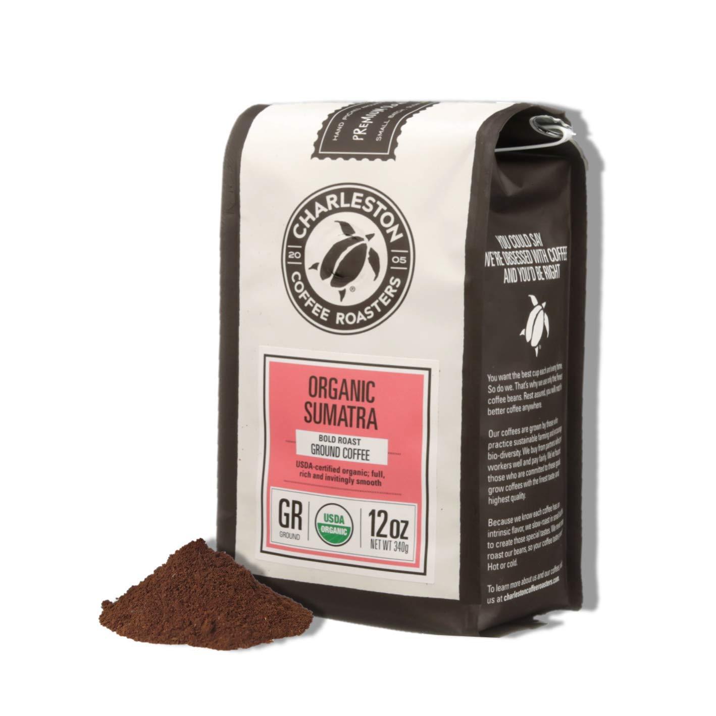 Charleston Coffee Roasters | Specialty Organic Ground Bag | Hand Picked, Premium Slow Roast (Sumatra, Bold Roast) 12oz