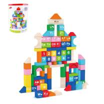 ACOOLTOY Wood Building Block Set, 100 PCS, Blocks for Toddlers