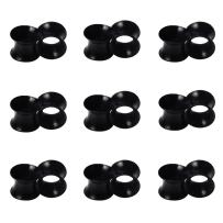Qmcandy 1/2/9 Pairs Black Thin Silicone Flexible Ear Skin Hollow Tunnels Plugs Earlets Piercing 8g-1 in
