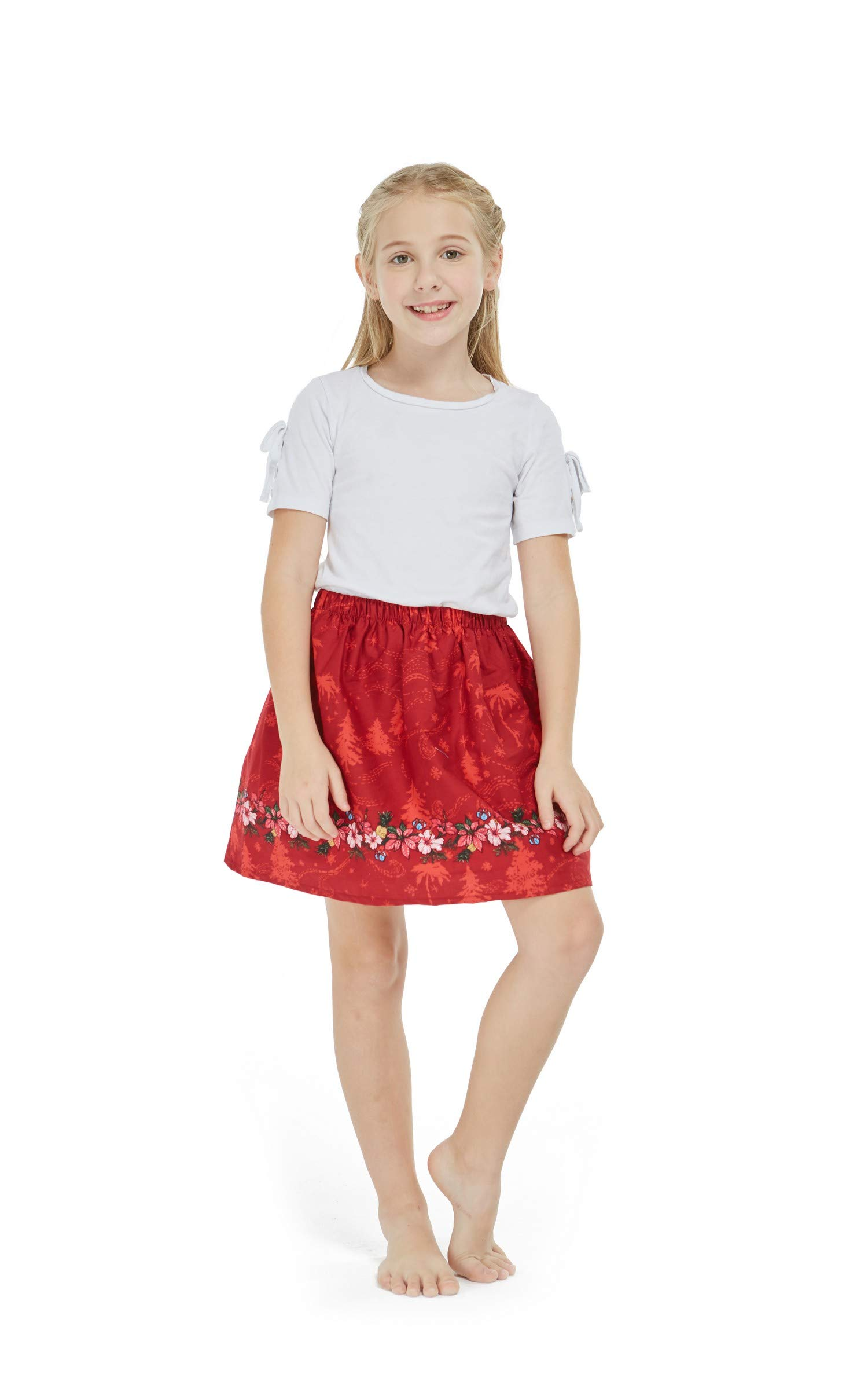 Girl Print Skirt with Elastic Waist in Christmas Red with Floral